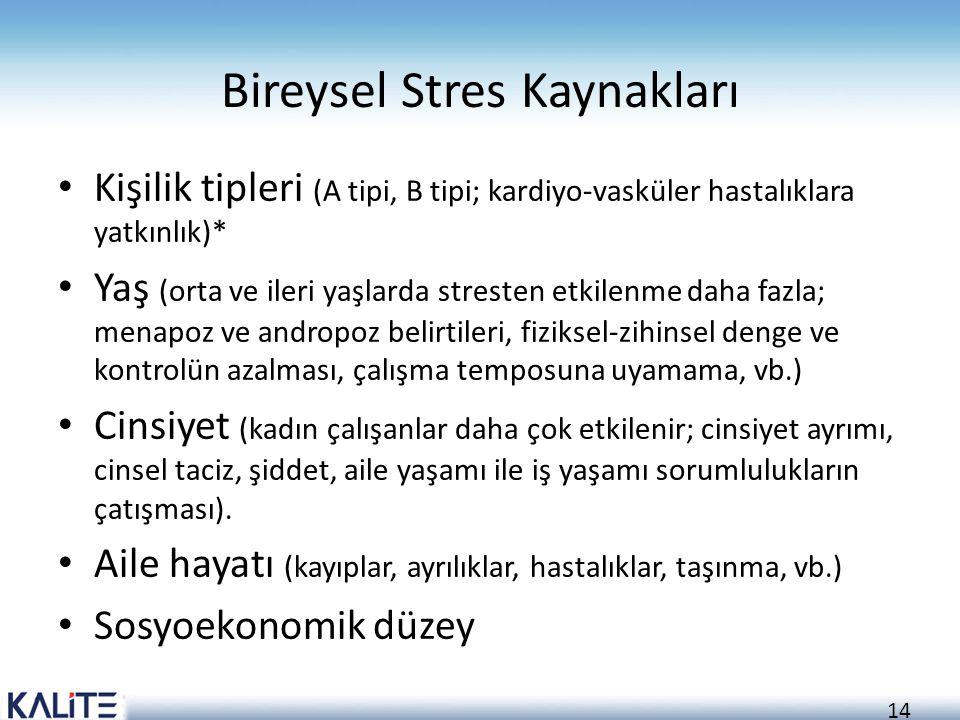 Bireysel Stres Kaynakları