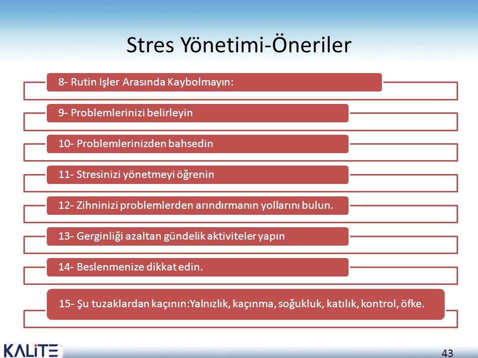 Stres Yönetimi-Öneriler