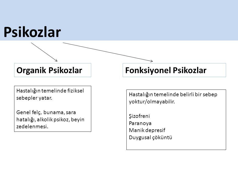 Psikozlar Organik Psikozlar Fonksiyonel Psikozlar
