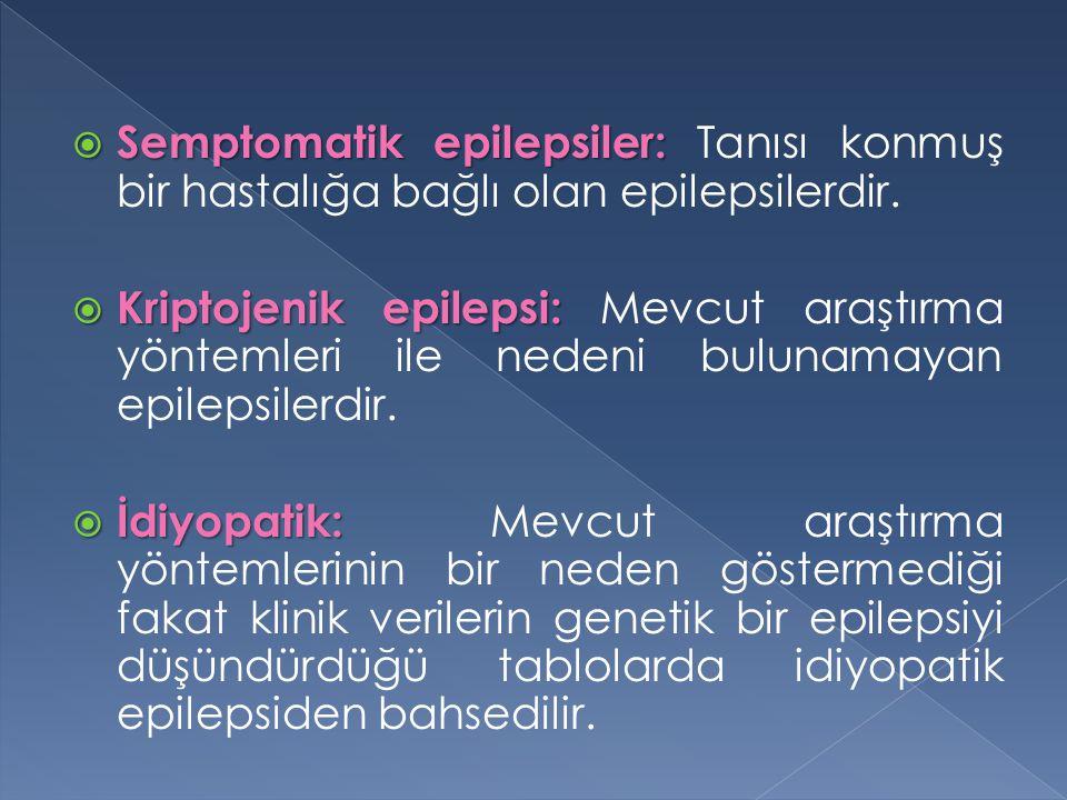 Semptomatik epilepsiler: Tanısı konmuş bir hastalığa bağlı olan epilepsilerdir.
