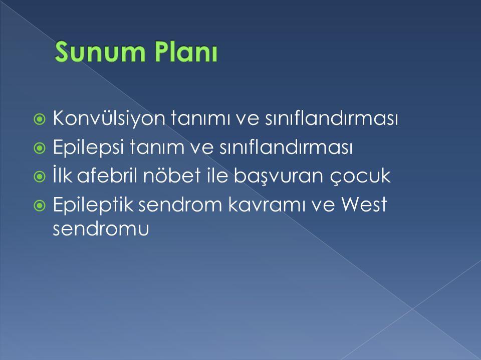 Sunum Planı Konvülsiyon tanımı ve sınıflandırması