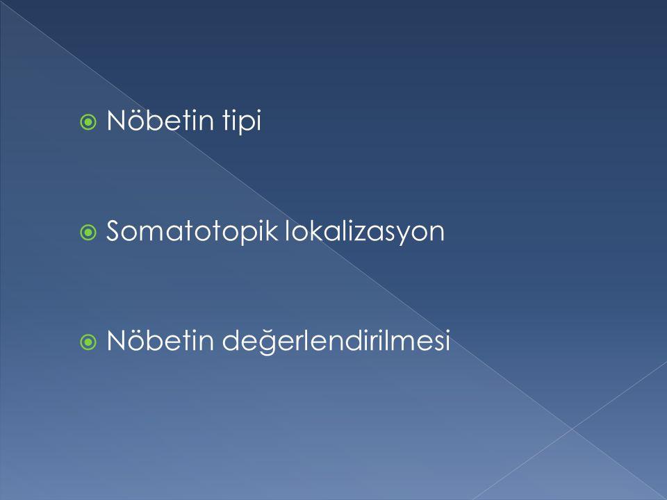 Nöbetin tipi Somatotopik lokalizasyon Nöbetin değerlendirilmesi