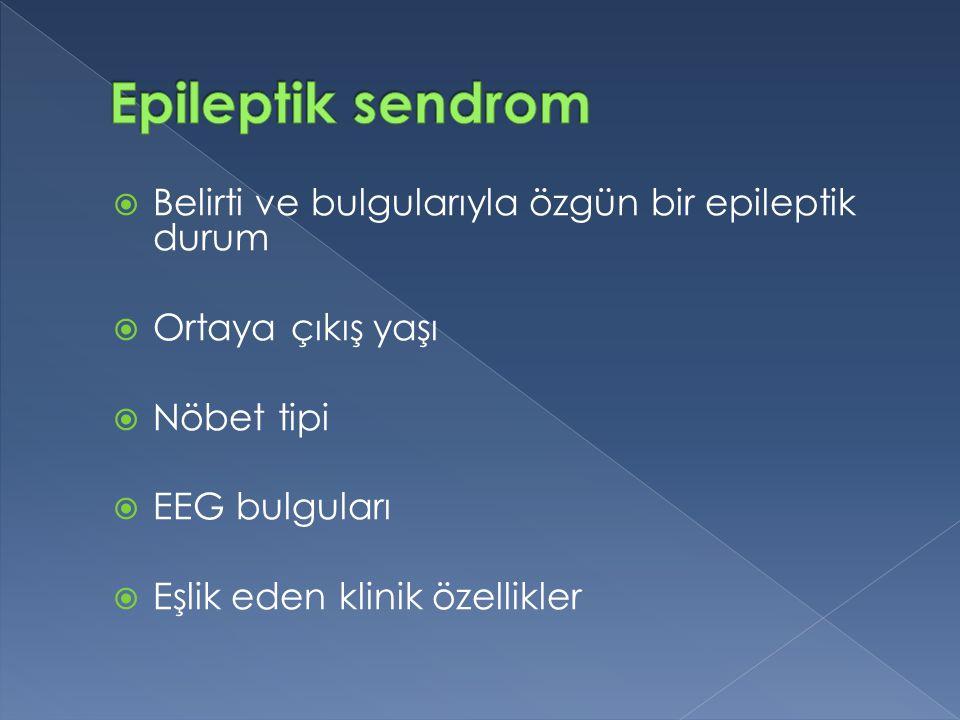 Epileptik sendrom Belirti ve bulgularıyla özgün bir epileptik durum