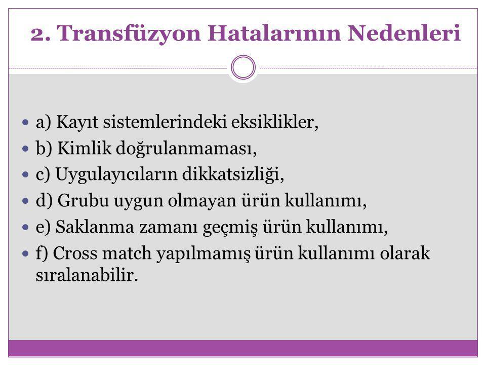 2. Transfüzyon Hatalarının Nedenleri