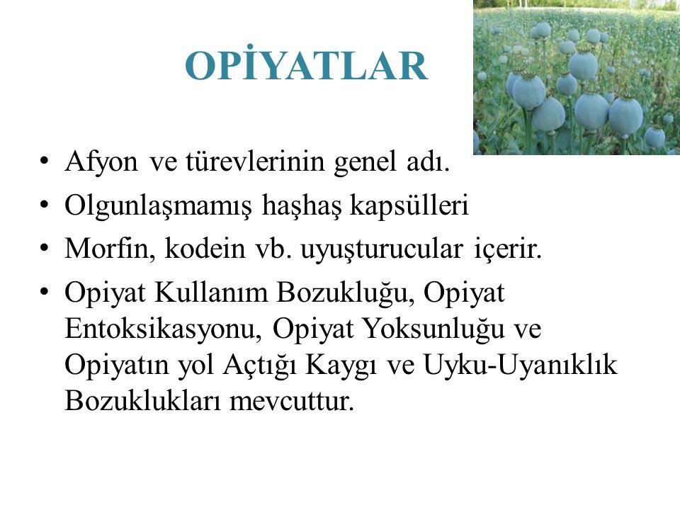 OPİYATLAR Afyon ve türevlerinin genel adı.