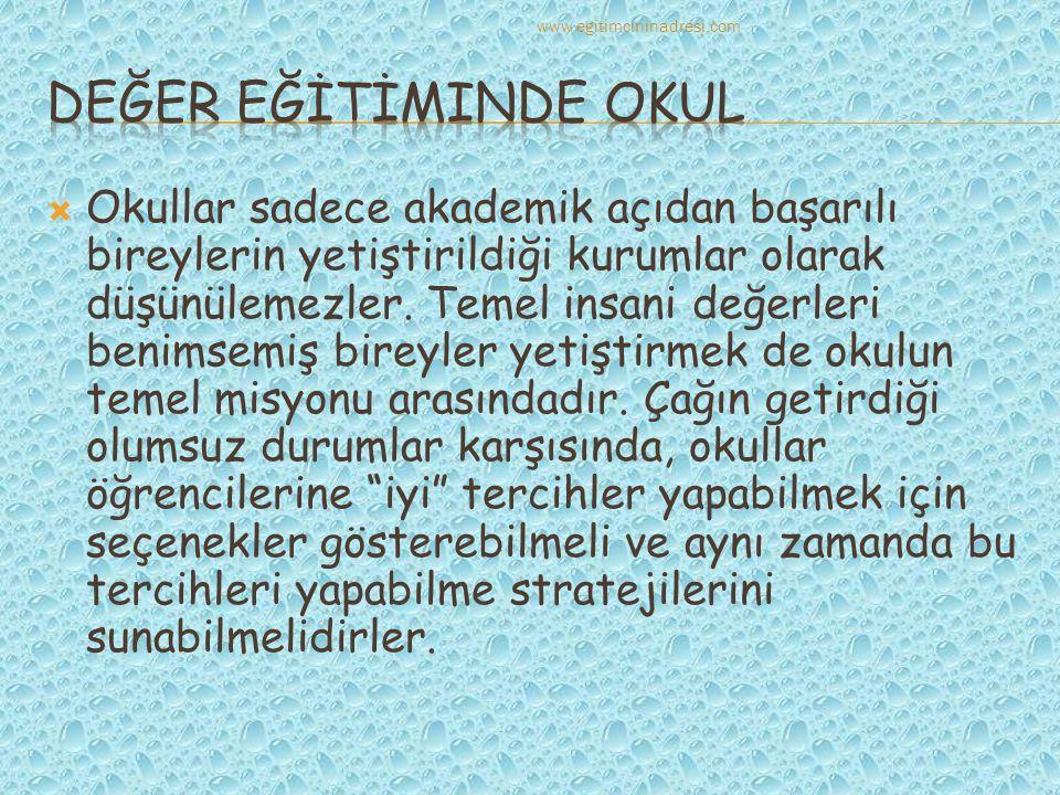 www.egitimcininadresi.com DEĞER EĞİTİMinde okul.
