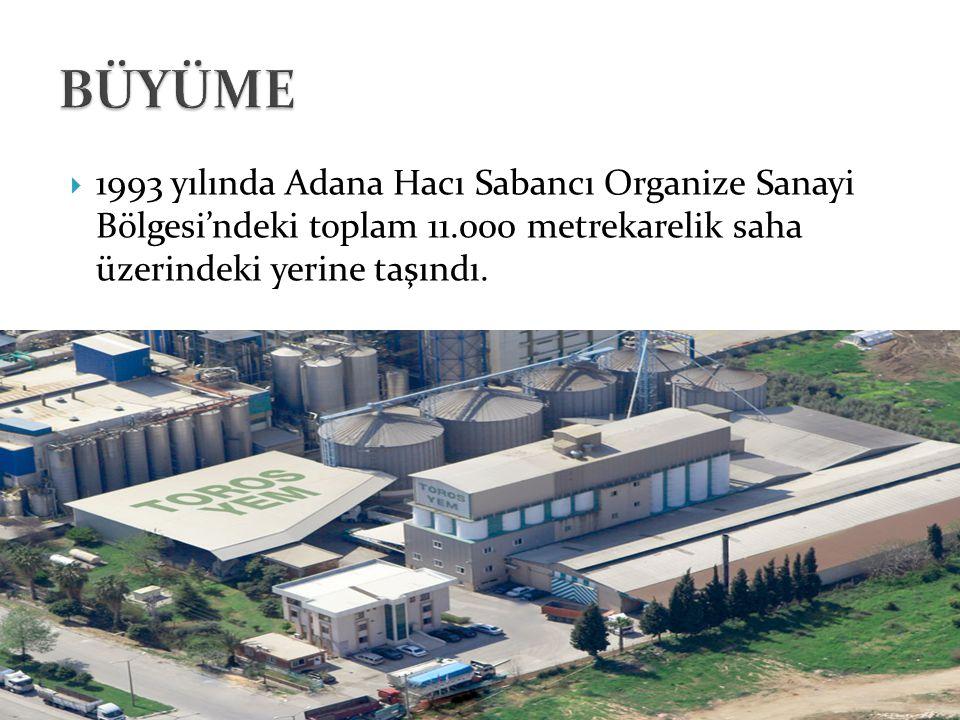 BÜYÜME 1993 yılında Adana Hacı Sabancı Organize Sanayi Bölgesi'ndeki toplam 11.000 metrekarelik saha üzerindeki yerine taşındı.