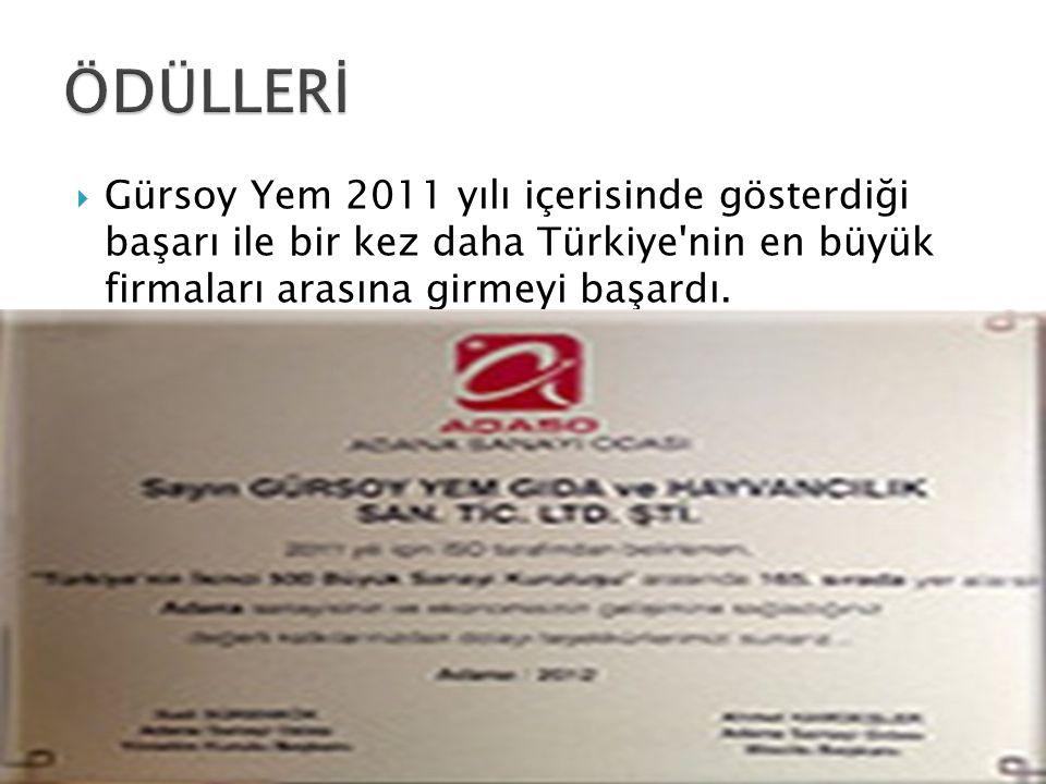 ÖDÜLLERİ Gürsoy Yem 2011 yılı içerisinde gösterdiği başarı ile bir kez daha Türkiye nin en büyük firmaları arasına girmeyi başardı.