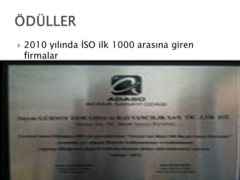 ÖDÜLLER 2010 yılında İSO ilk 1000 arasına giren firmalar