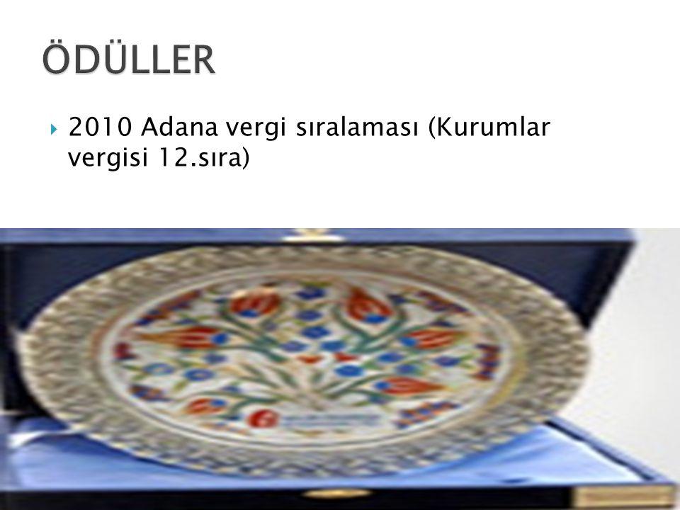ÖDÜLLER 2010 Adana vergi sıralaması (Kurumlar vergisi 12.sıra)