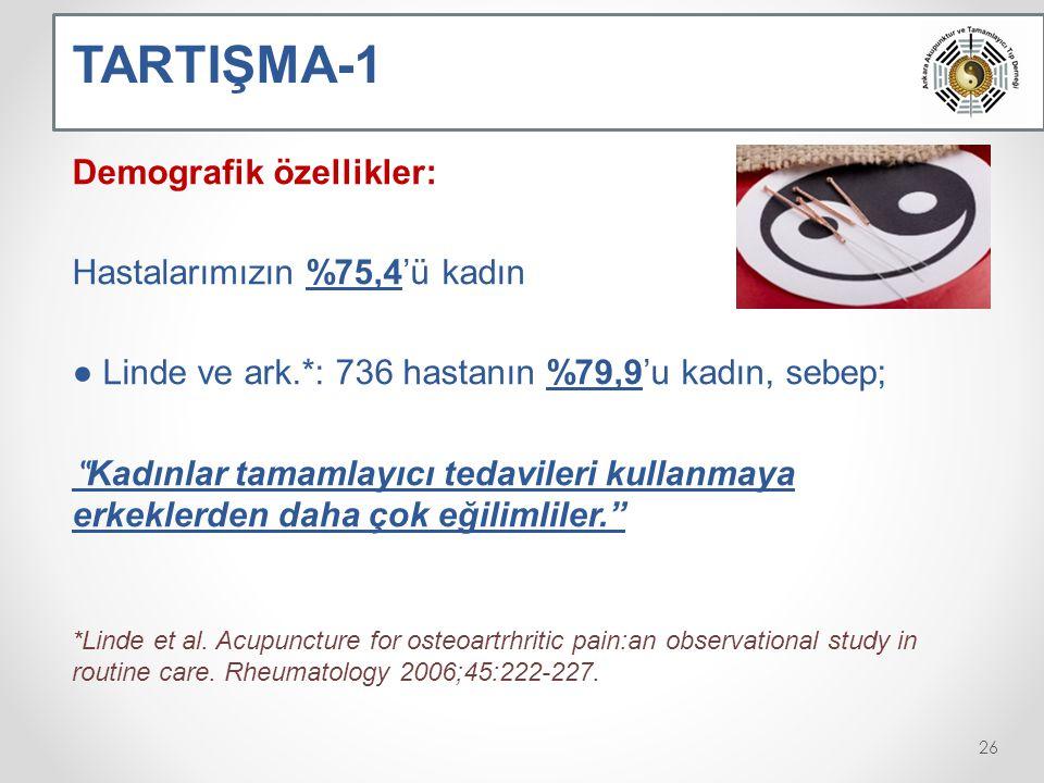 TARTIŞMA-1 Demografik özellikler: Hastalarımızın %75,4'ü kadın