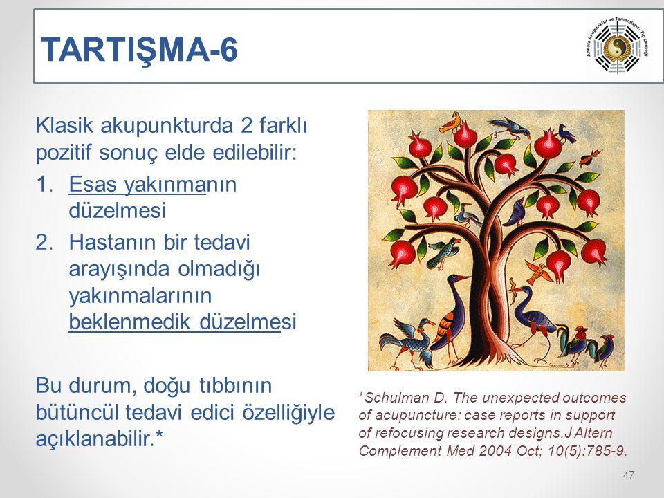 TARTIŞMA-6 Klasik akupunkturda 2 farklı pozitif sonuç elde edilebilir: