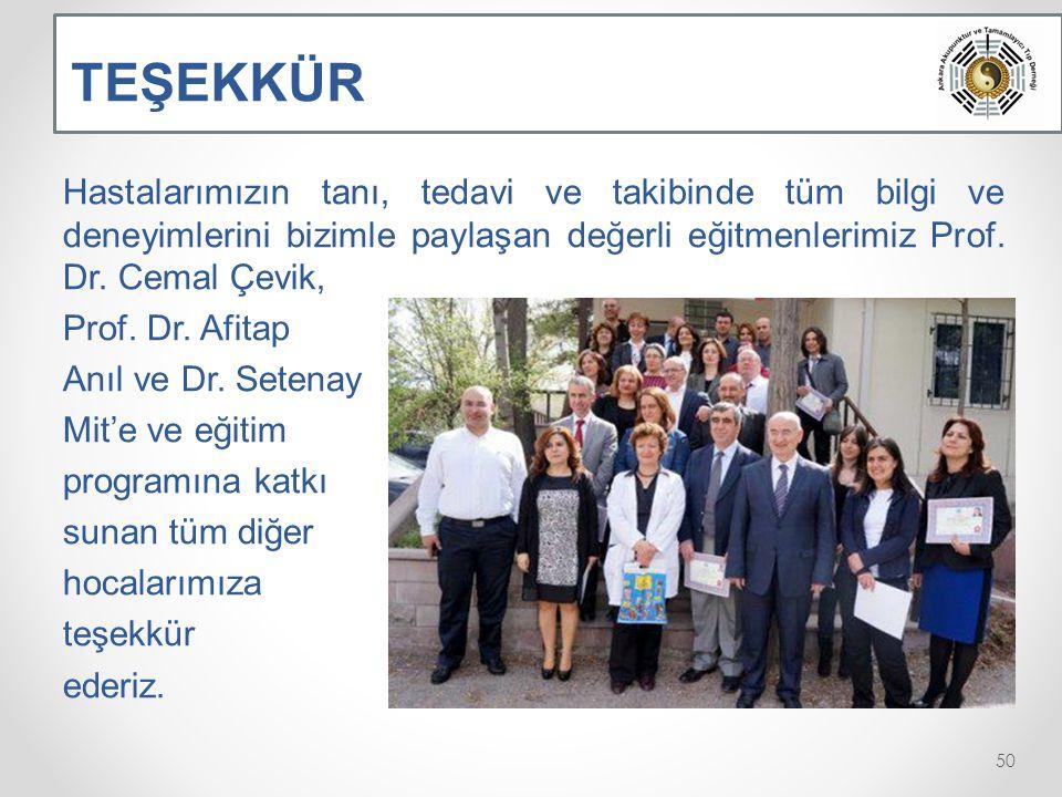 TEŞEKKÜR Hastalarımızın tanı, tedavi ve takibinde tüm bilgi ve deneyimlerini bizimle paylaşan değerli eğitmenlerimiz Prof. Dr. Cemal Çevik,