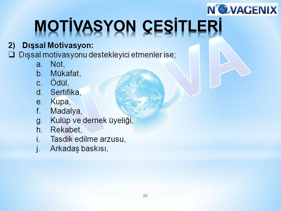 MOTİVASYON ÇEŞİTLERİ Dışsal Motivasyon: