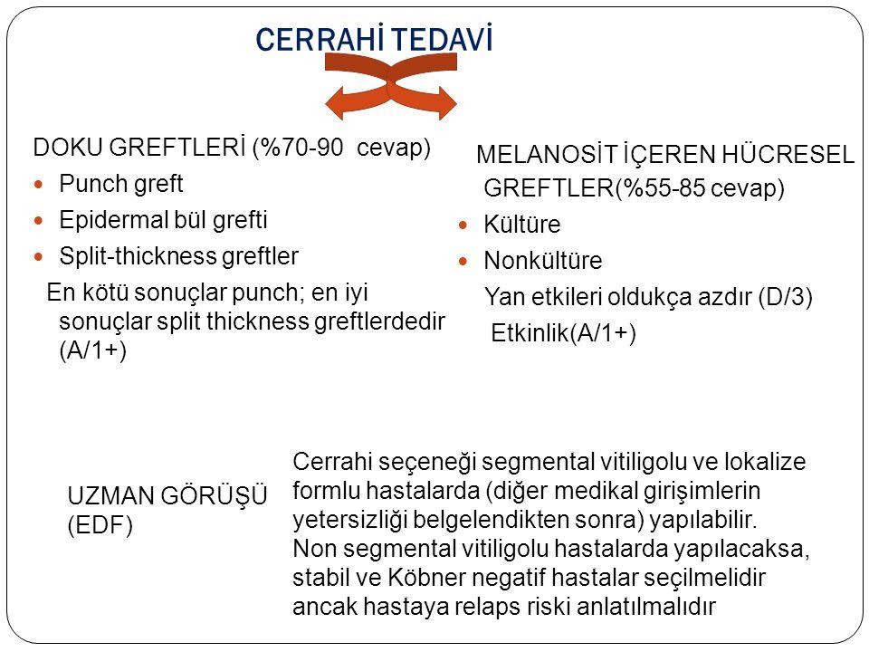 CERRAHİ TEDAVİ MELANOSİT İÇEREN HÜCRESEL GREFTLER(%55-85 cevap)