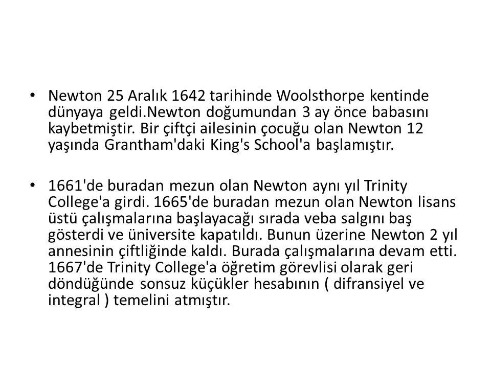 Newton 25 Aralık 1642 tarihinde Woolsthorpe kentinde dünyaya geldi