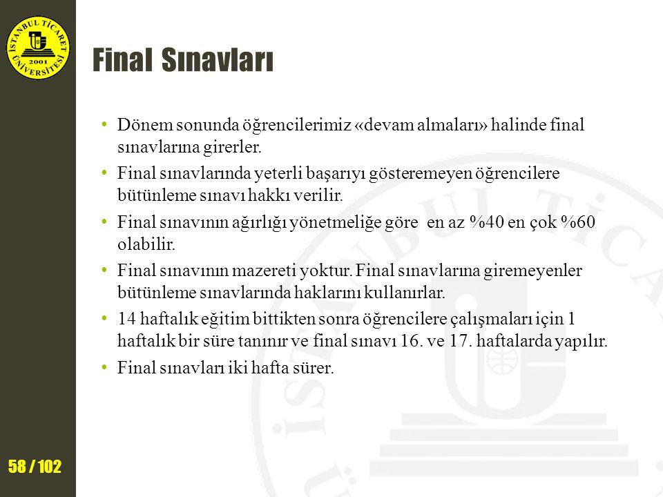 Final Sınavları Dönem sonunda öğrencilerimiz «devam almaları» halinde final sınavlarına girerler.