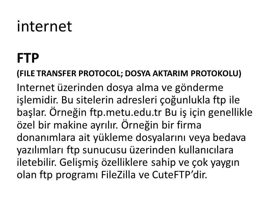 internet FTP. (FILE TRANSFER PROTOCOL; DOSYA AKTARIM PROTOKOLU)