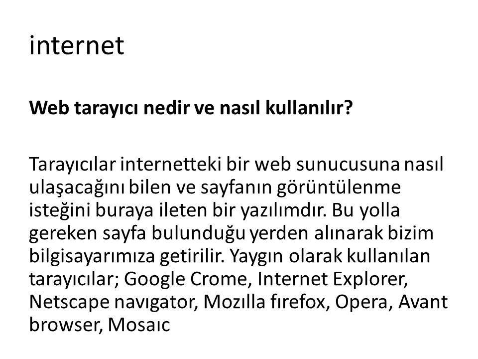 internet Web tarayıcı nedir ve nasıl kullanılır