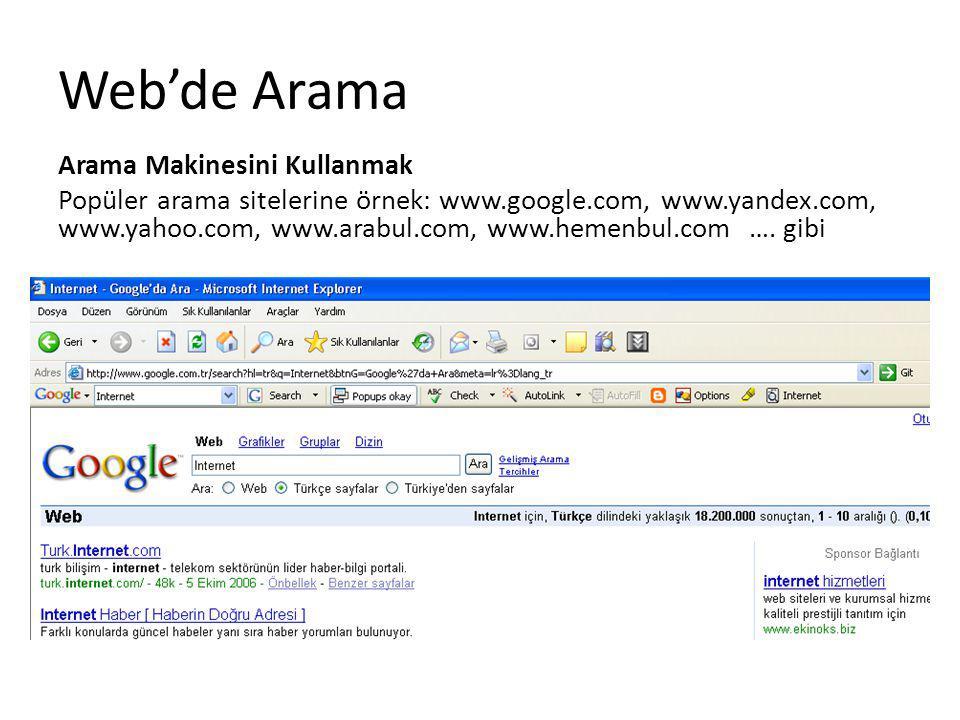 Web'de Arama