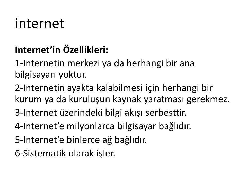 internet Internet'in Özellikleri: