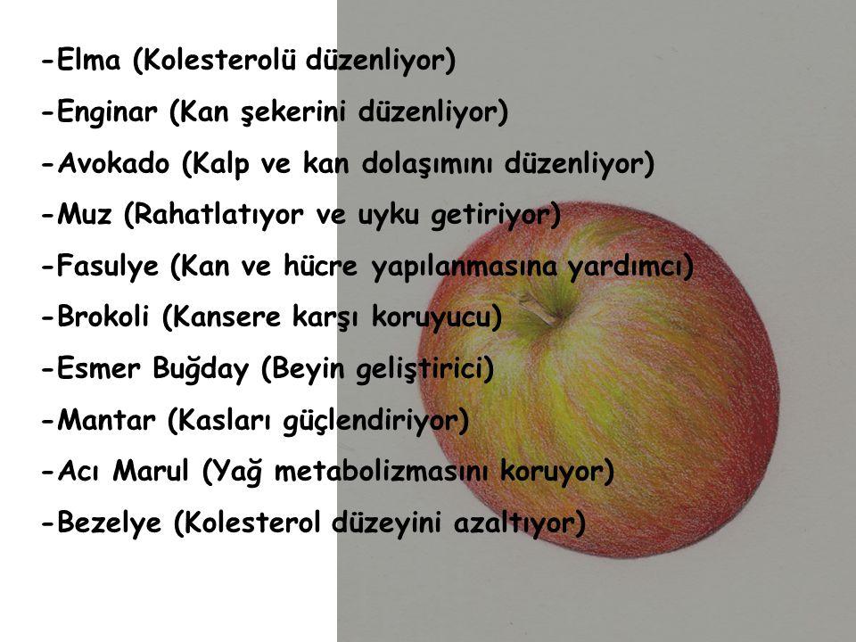 -Elma (Kolesterolü düzenliyor)