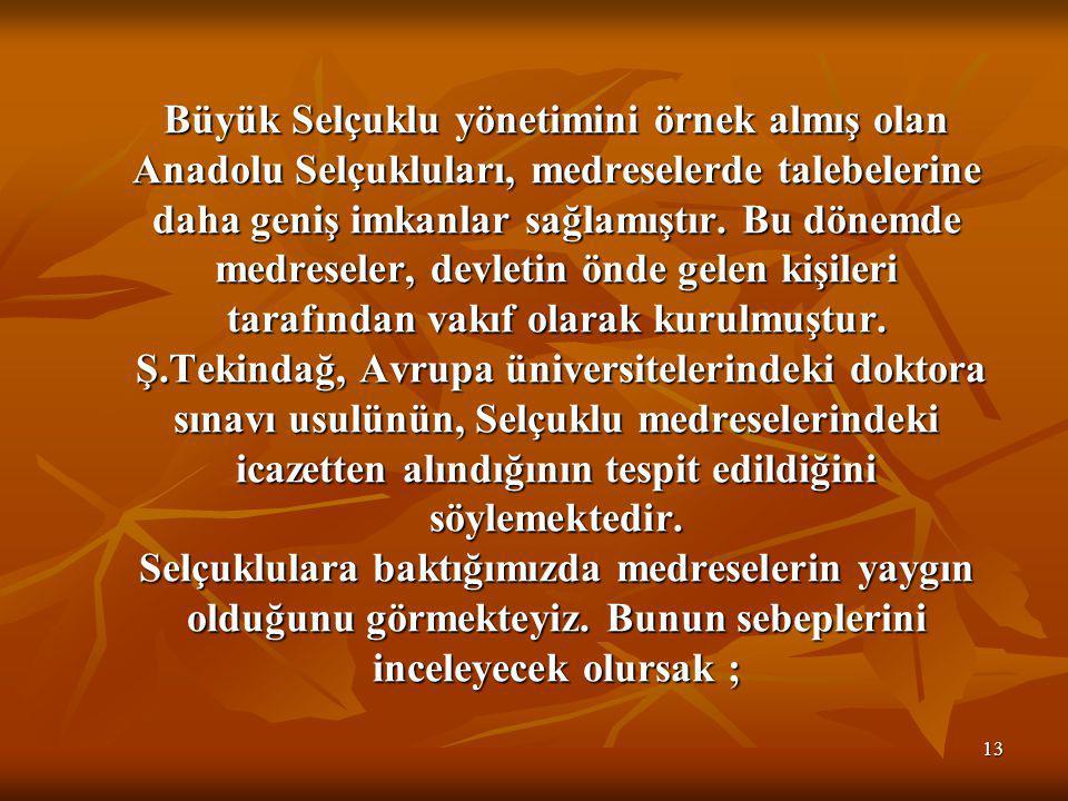 Büyük Selçuklu yönetimini örnek almış olan Anadolu Selçukluları, medreselerde talebelerine daha geniş imkanlar sağlamıştır.