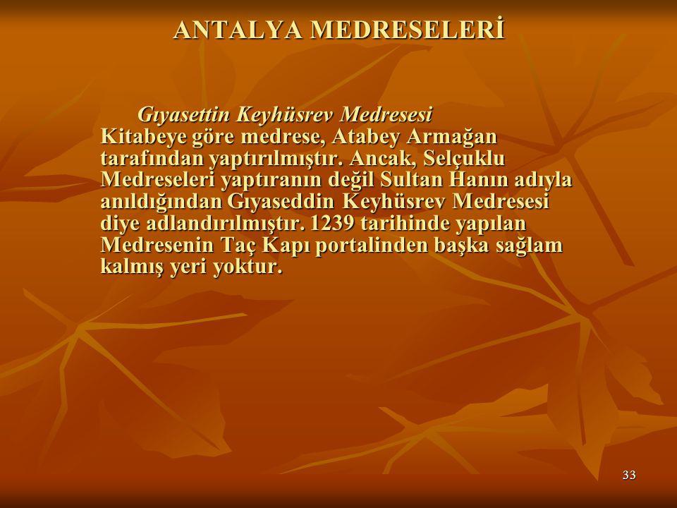 ANTALYA MEDRESELERİ