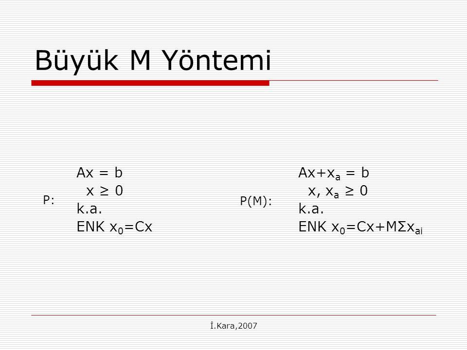 Büyük M Yöntemi Ax = b x ≥ 0 k.a. ENK x0=Cx Ax+xa = b x, xa ≥ 0 k.a.