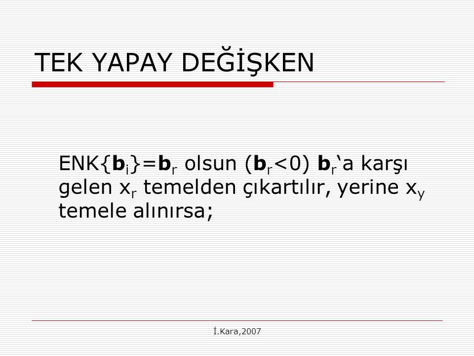 TEK YAPAY DEĞİŞKEN ENK{bi}=br olsun (br<0) br'a karşı gelen xr temelden çıkartılır, yerine xy temele alınırsa;