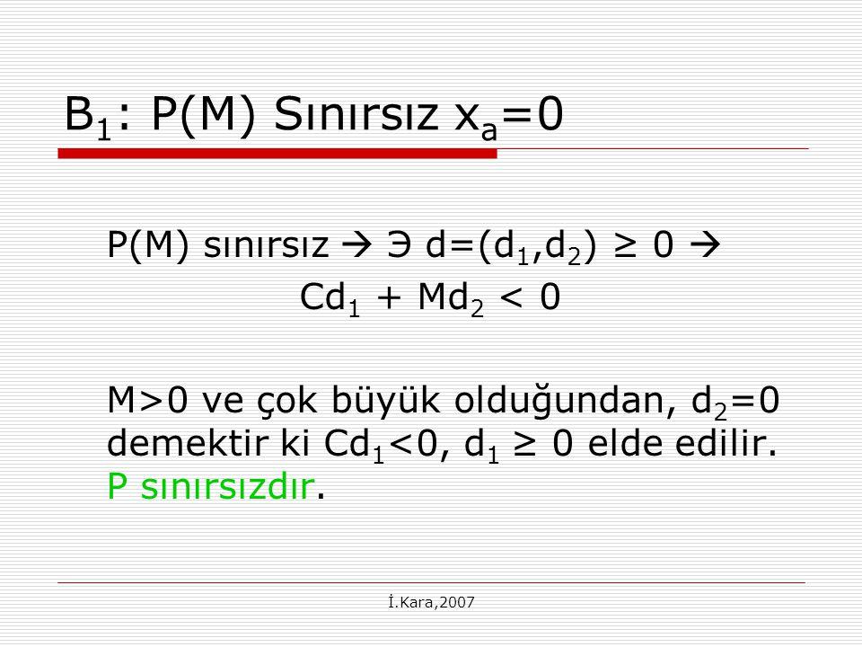 B1: P(M) Sınırsız xa=0 P(M) sınırsız  Э d=(d1,d2) ≥ 0 