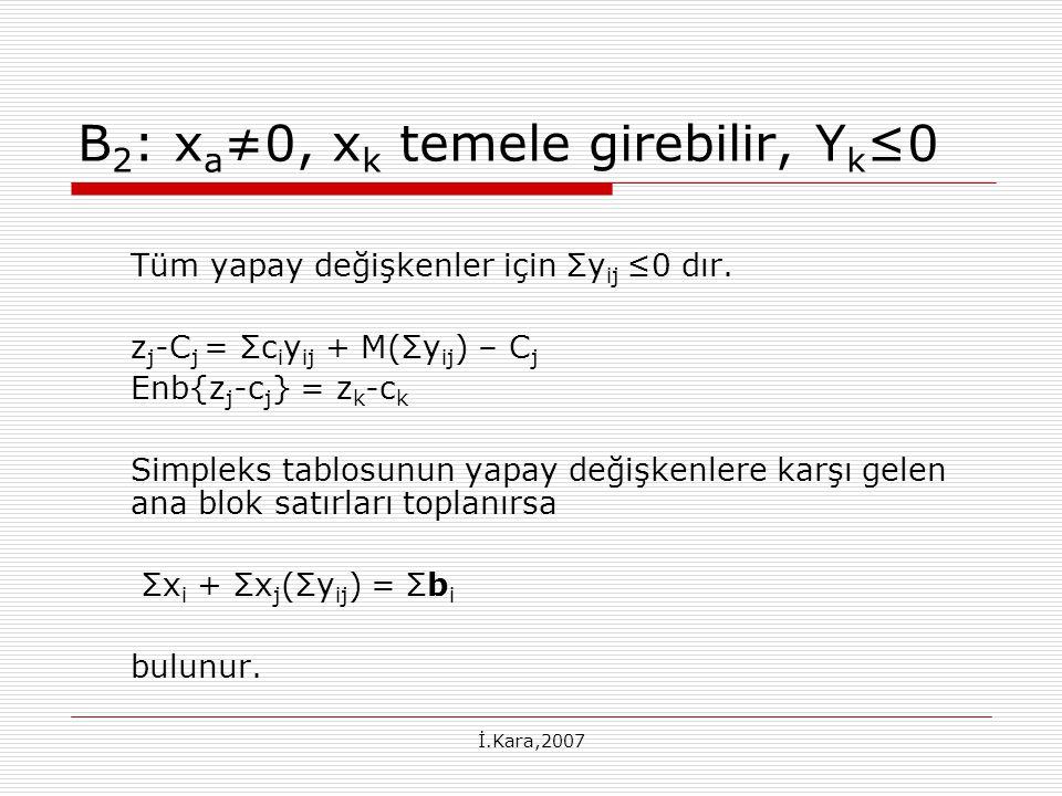 B2: xa≠0, xk temele girebilir, Yk≤0
