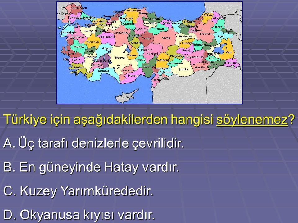 Türkiye için aşağıdakilerden hangisi söylenemez