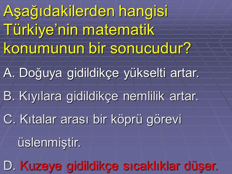 Aşağıdakilerden hangisi Türkiye'nin matematik konumunun bir sonucudur