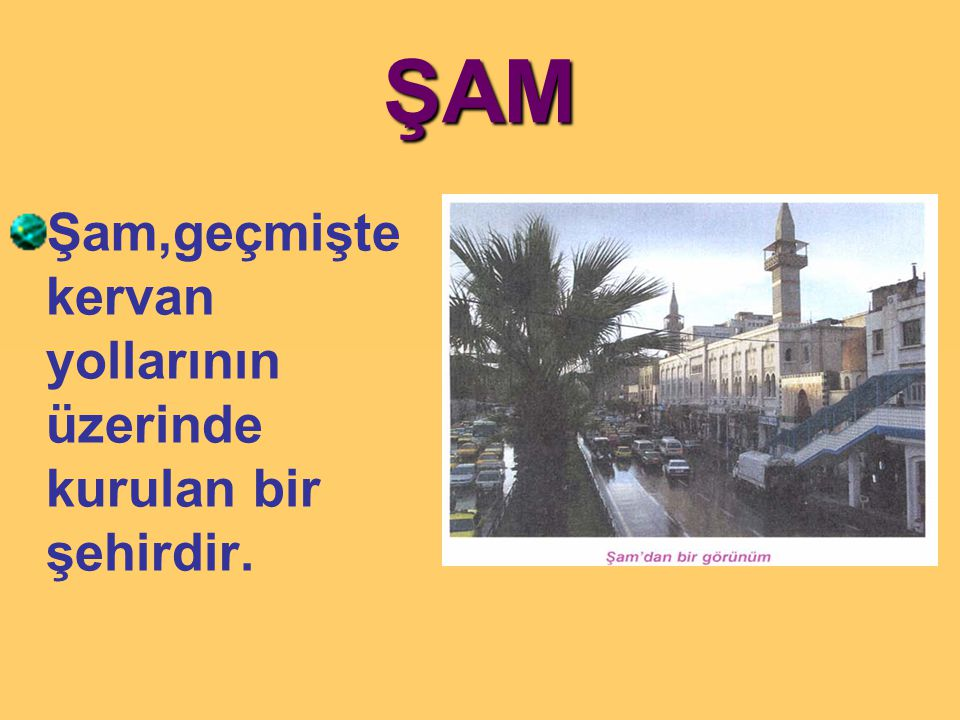 ŞAM Şam,geçmişte kervan yollarının üzerinde kurulan bir şehirdir.