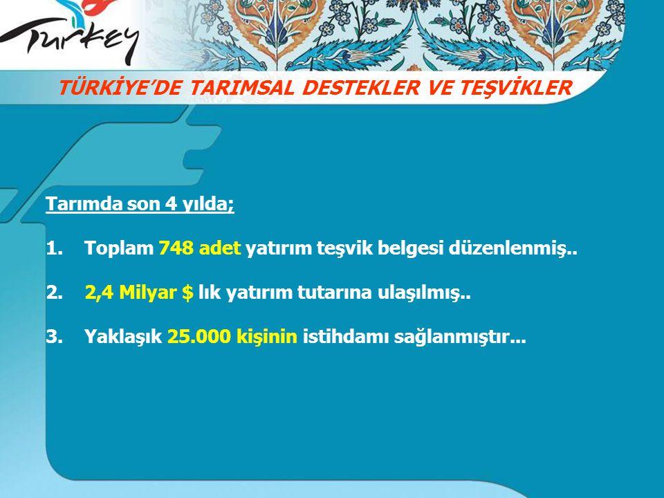 TÜRKİYE'DE TARIMSAL DESTEKLER VE TEŞVİKLER