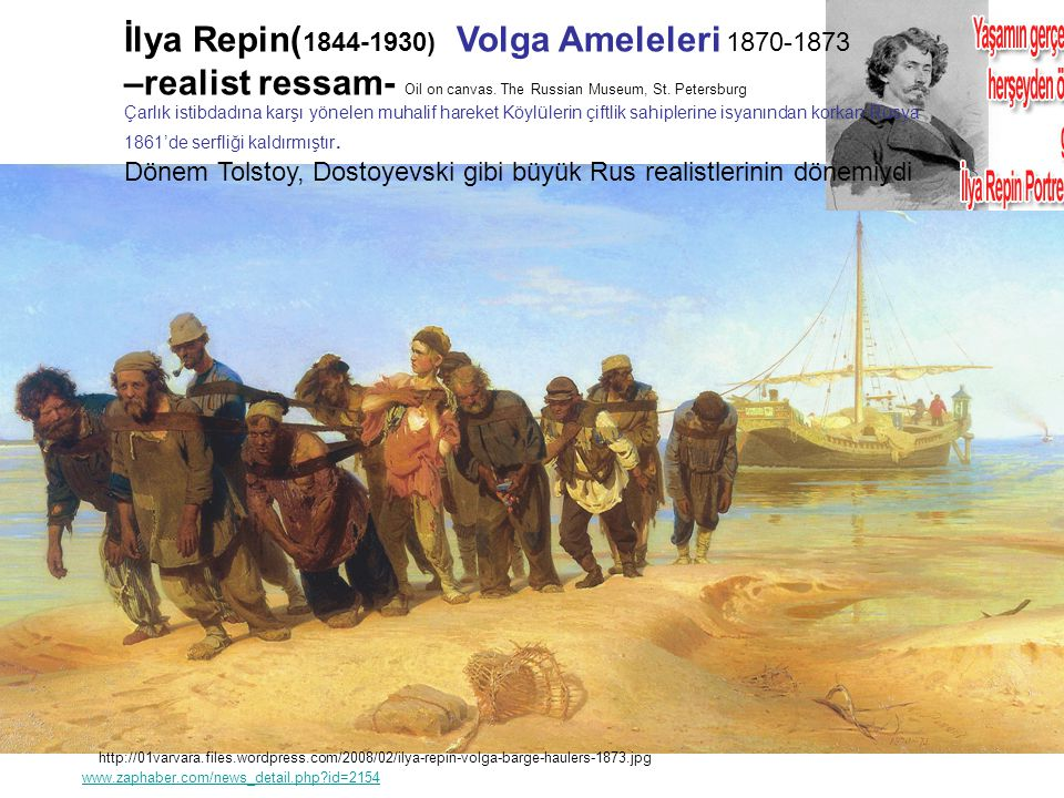 İlya Repin(1844-1930) Volga Ameleleri 1870-1873