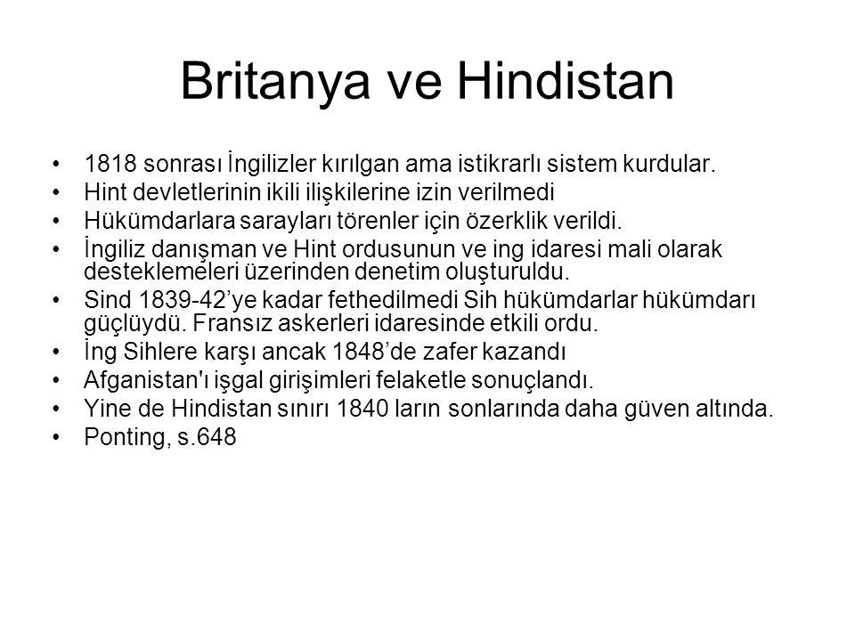 Britanya ve Hindistan 1818 sonrası İngilizler kırılgan ama istikrarlı sistem kurdular. Hint devletlerinin ikili ilişkilerine izin verilmedi.