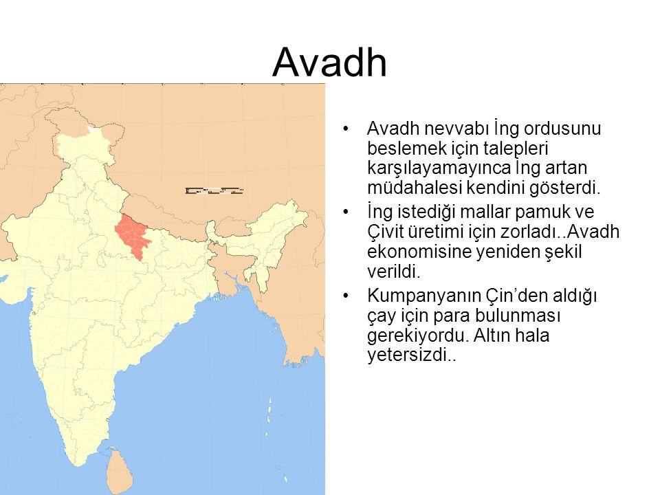 Avadh Avadh nevvabı İng ordusunu beslemek için talepleri karşılayamayınca İng artan müdahalesi kendini gösterdi.