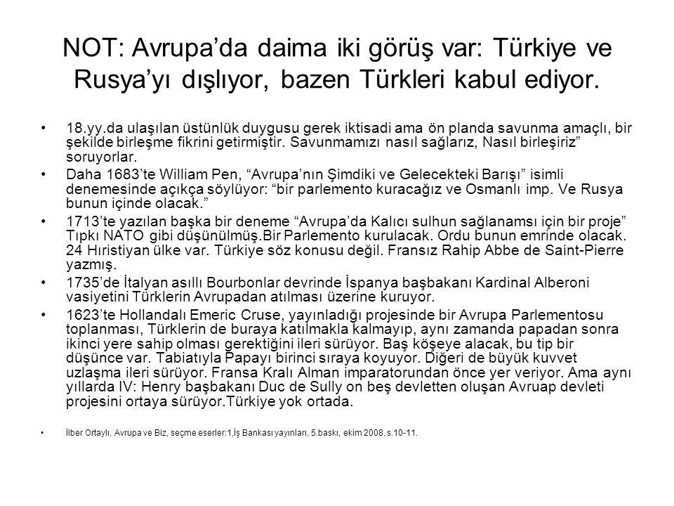 NOT: Avrupa'da daima iki görüş var: Türkiye ve Rusya'yı dışlıyor, bazen Türkleri kabul ediyor.