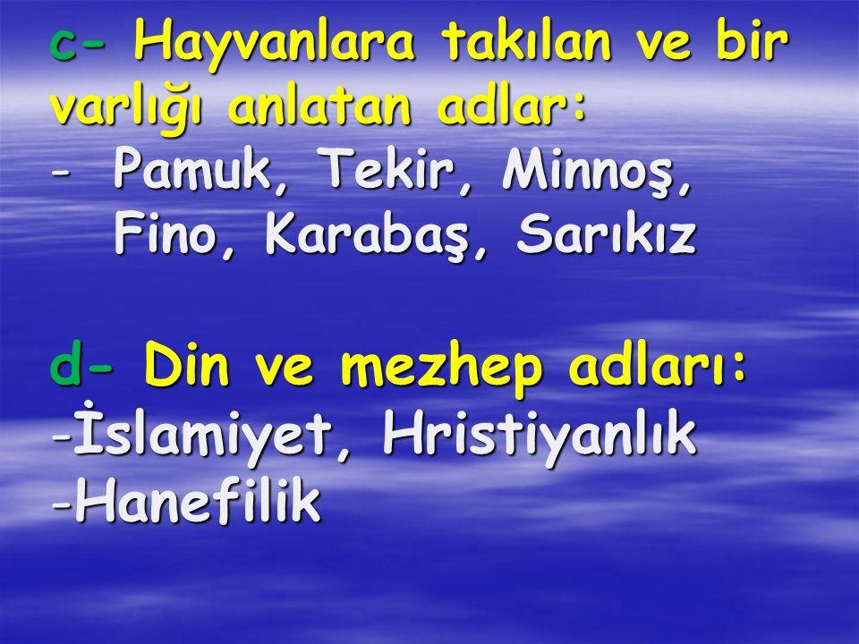 d- Din ve mezhep adları: İslamiyet, Hristiyanlık Hanefilik