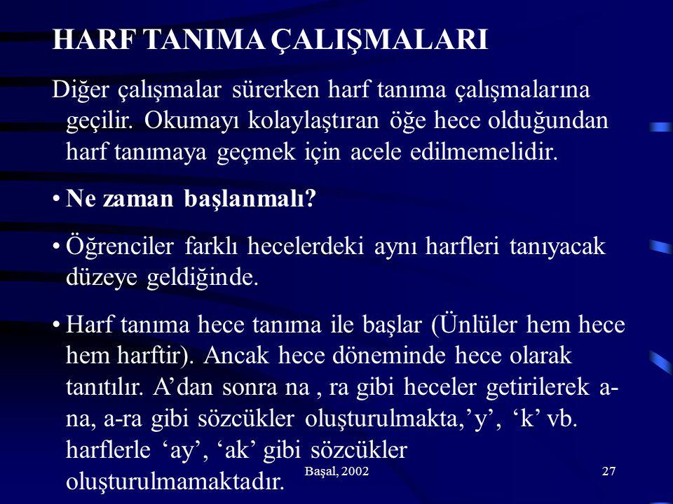 HARF TANIMA ÇALIŞMALARI