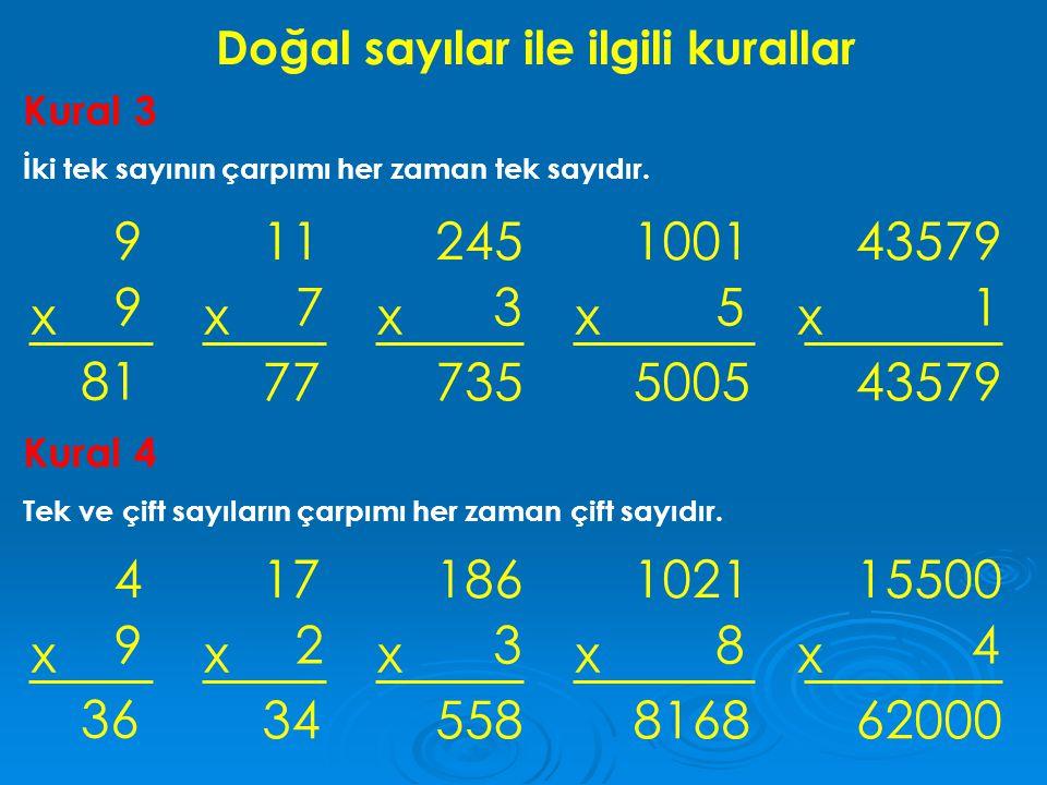 Doğal sayılar ile ilgili kurallar