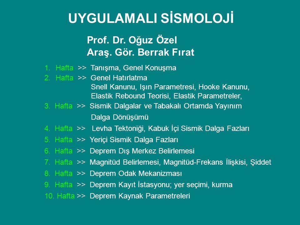 UYGULAMALI SİSMOLOJİ Prof. Dr. Oğuz Özel Araş. Gör. Berrak Fırat