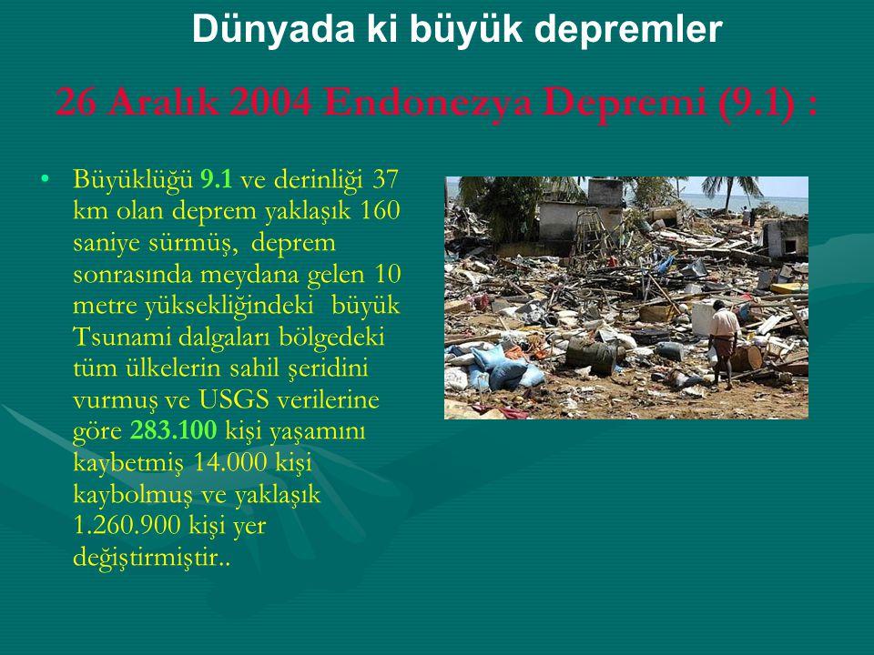 26 Aralık 2004 Endonezya Depremi (9.1) :