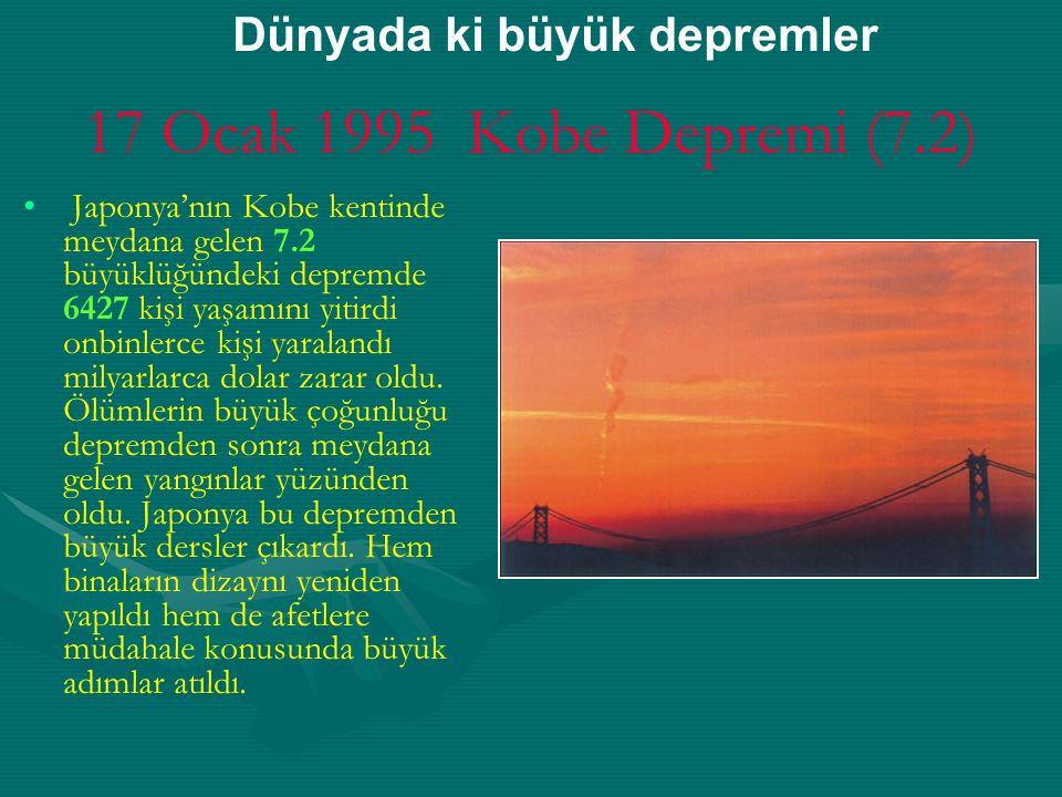 17 Ocak 1995 Kobe Depremi (7.2) Dünyada ki büyük depremler