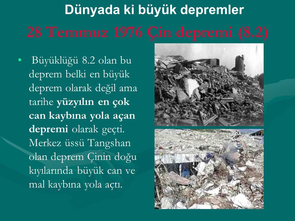 28 Temmuz 1976 Çin depremi (8.2) Dünyada ki büyük depremler