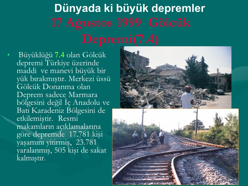 17 Ağustos 1999 Gölcük Depremi(7.4)