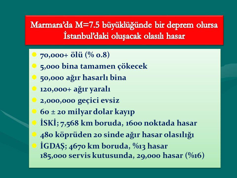 Marmara'da M=7.5 büyüklüğünde bir deprem olursa İstanbul'daki oluşacak olasılı hasar