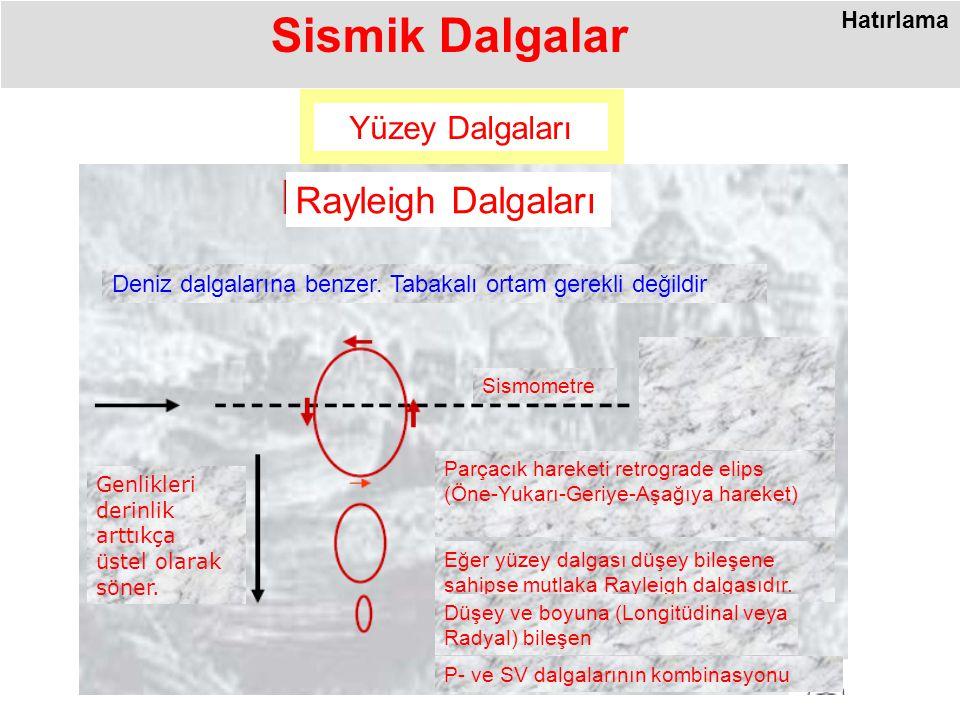 Sismik Dalgalar Rayleigh Dalgaları Yüzey Dalgaları Hatırlama
